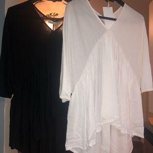 ZARA w/b NEW blouse shirt black white small med